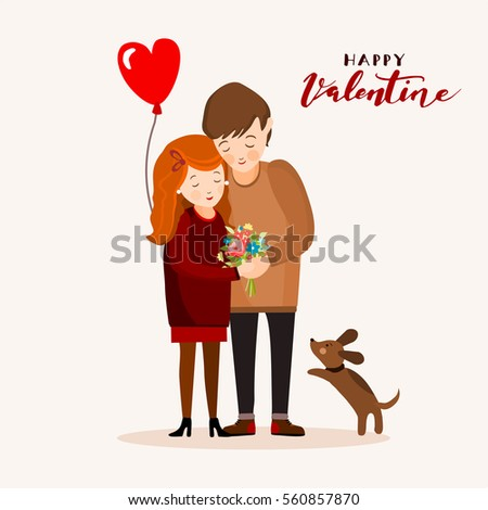 couple with a dog  valentines
