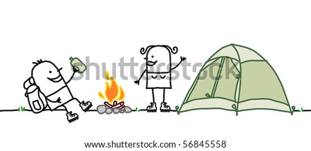 couple with camping tent