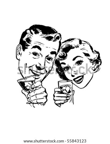 Couple With Cocktails Toasting - Retro Clip Art