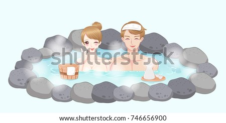 couple with hot spring on the white background