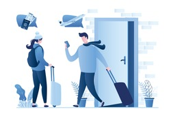 Couple with luggage leaves apartment. Man looks in smartphone. Travelers talking, planning, technology online check-in. People start journey. Cute humans with suitcases. Trendy vector illustration