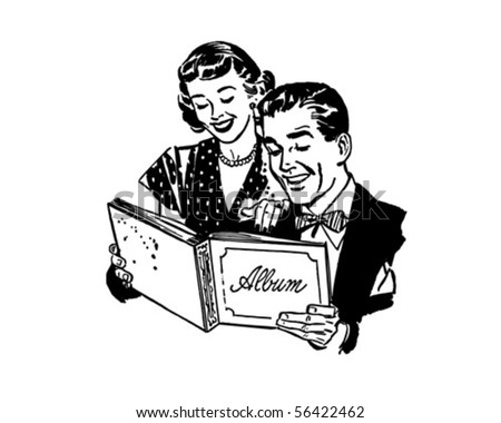 Couple With Photo Album Retro Clip Art