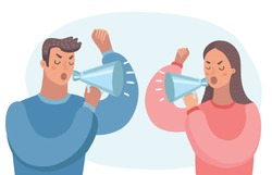 Couple yelling at each other in argument with megaphone. Close up view