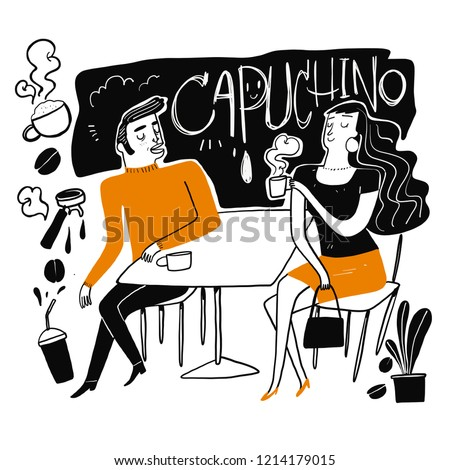Couples drink coffee. Moments of relaxation or rest from heavy work. The appearance and lifestyle. Collection of hand drawn. Vector illustration in sketch doodle style,Painting strokes, semi-abstract