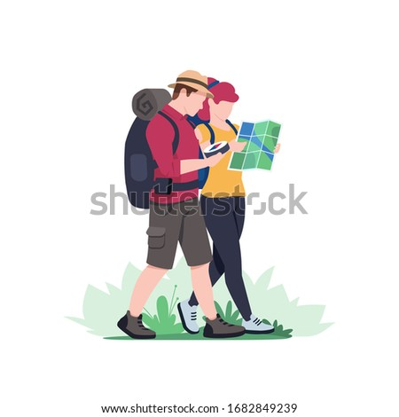 Couples hiking man and woman with backpack is traveling in outdoor. Trekking and hiking tours. Exploration trekking. Tourism and adventures in nature. Vector illustration flat style.