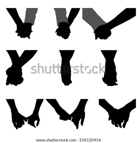 couples holding hands  vector