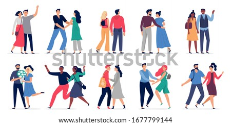 Couples in love. Adorable couple walk together holding hands, romantic date and man gives woman flowers cartoon vector illustration set. Woman and man happy, adorable couple characters