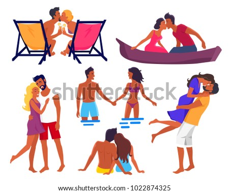 Couples in love on summer holidays that hold hands, kiss and hug each other, sit in recliner, couple stand in water and swim on canoe vector illustrations.