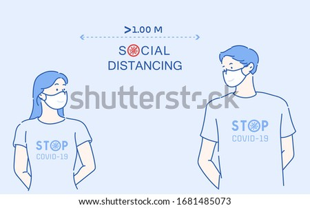 Couples talking at a distance of about 1 meter. Social distancing, keep distance in public society people to protect from COVID-19.The idea of ​​stopping the spread of the virus.