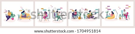 Couples with smartphones, tablets and laptops chatting online, during coronavirus self isolation, quarantine. Virtual dating concept. Vector illustration