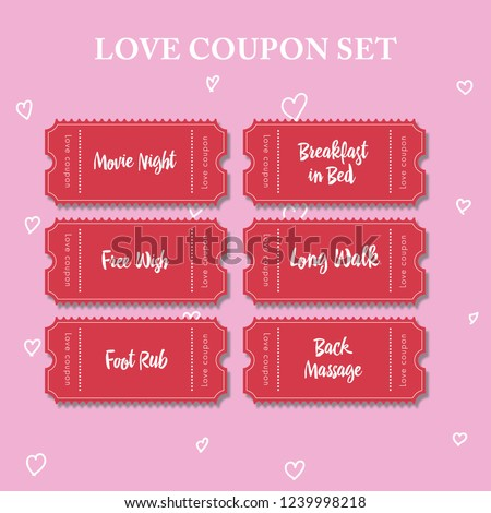 Coupon book for boyfriend. Valentine cards example. Love coupon set. Red coupons on pink background. Movie night, breakfast in bed, free wish, long walk, foot rub, back massage cards.