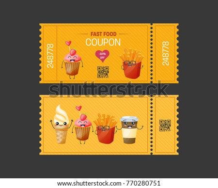 Coupon fast food. Gift Voucher ticket card. Coupon food and drink, eating. Pass to attend events. Element template for design. Vector illustration isolated.