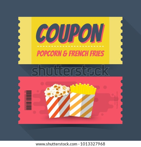 Coupon popcorn and french fries ticket card. Element template for graphics design. Vector illustration
