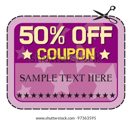 Coupon sale - 50%. (fifty percent discount, discount label)
