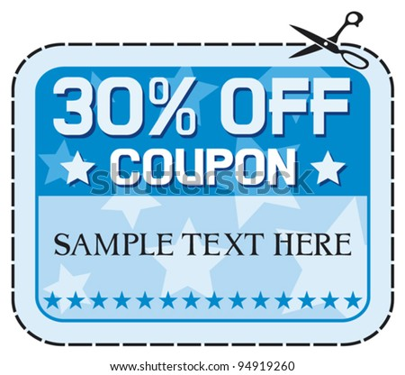 Coupon sale 30% (thirty percent discount, discount label)