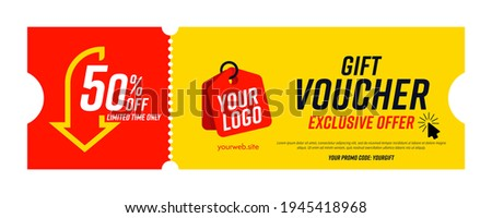 Coupon template with exclusive offer up to 50 percent off. Gift voucher with limited time exclusive offer, special promo code and place for company logo and website vector illustration Foto stock ©