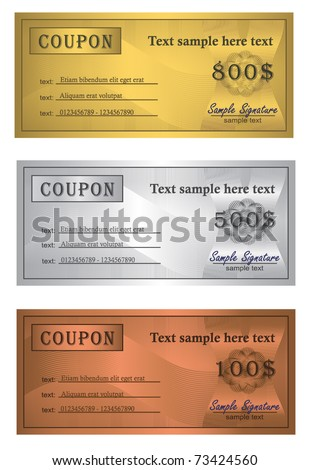 Coupon trio Gold Silver Bronze  vector template