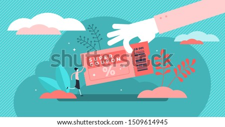 Coupon vector illustration. Flat tiny shop discount voucher persons concept. Symbolic chasing after financial cheap and profitable purchase. Promotion and advertisement method for customer engagement.