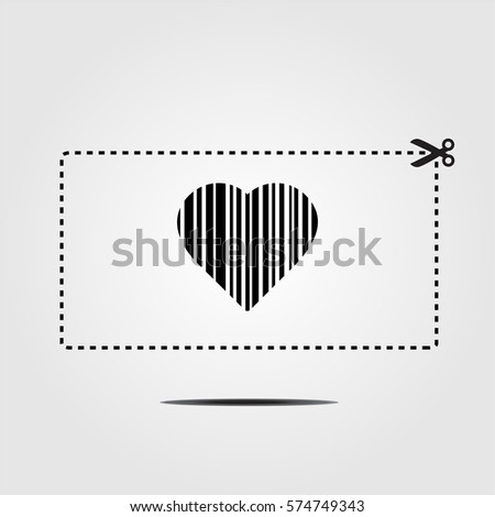 Coupon with bar codes or voucher code or promo code vector with scissors to cut the dotted line border and heart.