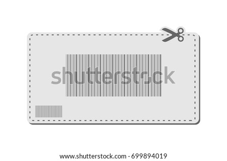 Coupon with bar codes or voucher code or promo code vector with scissors to cut the dotted line border.