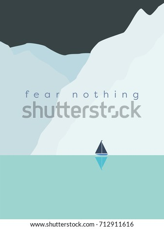 Courage and bravery concept vector with sailboat sailing next to huge glaciers, icebergs or cliffs in cold weather. Symbol of adventure, exploration, voyage. Eps10 vector illustration.