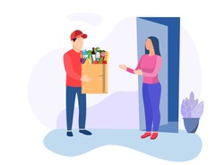 courier character delivery service icon. Man courier delivered Package food to customer. Concept for online shop or e-shop. Vector illustration in flat style