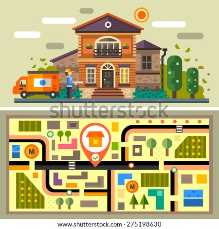 Courier delivers the order. House, pizza, fast-food, shipping service, free-shipping, call center, garden, tree, ready meal, prepared dinner, locality, scheme, geo tag, map. Vector flat illustration
