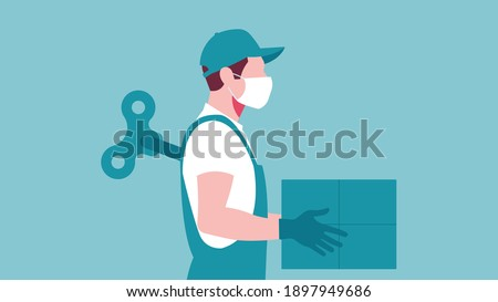 Courier, delivery man like mechanical doll -  young man with mechanic doll key in back. Concept of hardwork, tired, Burnout, stress.  Stock photo ©