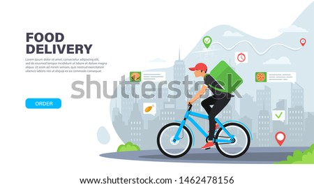 Courier on bicycle with parcel box on the back delivering food In city. Ecological fast delivery concept. Landing page design. Modern Vector illustration for websites