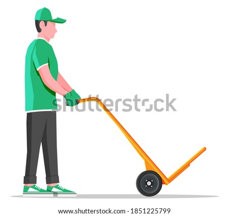 Courier with empty barrow isolated on white. Metallic two wheeled trolley and delivery man. Hand truck dolly icon. Transportation warehouse. Cartoon flat vector illustration Stock photo ©