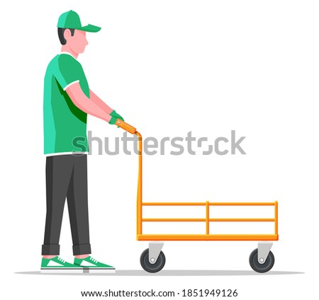 Courier with empty barrow isolated on white. Metallic wheeled trolley and delivery man. Hand truck dolly icon. Transportation warehouse. Cartoon flat vector illustration Stock photo ©
