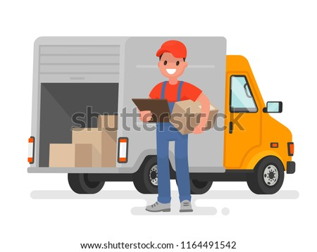 Courier with the parcel on the background of the delivery service van. Vector illustration in a flat style