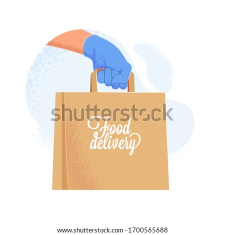 Couriers hand in blue protective glove holding delivery paper bag with food. Safe food delivery service during covid-19 quarantine. Vector illustration
