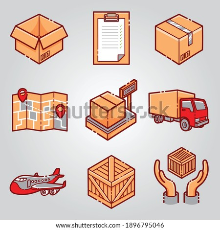 courrier shipping delivery icon set Photo stock ©