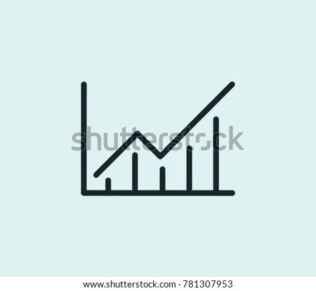 Course stats icon line isolated on clean background. Success chart concept drawing icon line in modern style. Vector illustration for your web site mobile logo app UI design.
