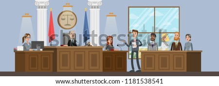 Court building interior with courtroom. Trial process. Lawyer or attorney giving a speech to a judge. Vector flat illustration