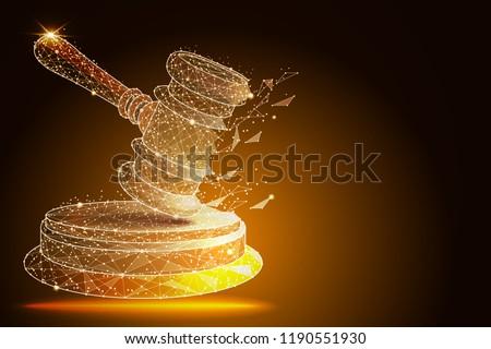 Court, judgment, bid, auction concepts. Judge gavel, auction hammer. vector illustration ストックフォト ©