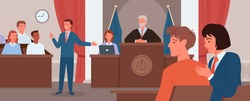 Court judgment, law justice concept vector illustration. Cartoon advocate lawyer or prosecutor character giving speech in front of judge, jury in courtroom, criminal defense public process background.