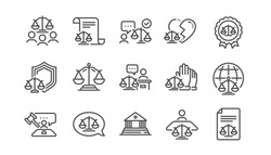 Court line icons set. Lawyer, Scales of Justice and Judge. Hammer, Law and Petition document set icons. Judgment, justice, court injunction. Gavel judge hammer, rulings, presiding officer. Vector