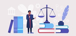 Court process, legal services. Lawyer, notary, judge, attorney understands the case. Colorful flat vector illustration.