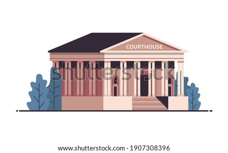 courthouse building exterior legal law advice justice concept horizontal isolated vector illustration Сток-фото ©