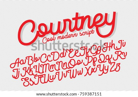 Courtney cool and modern script font, monolinear with cut sharp ends.  Can be used for your various design projects such as logotype, poster, digital lettering arts,  clean design, branding