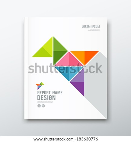 Cover Annual report, colorful bird origami paper design, vector illustration