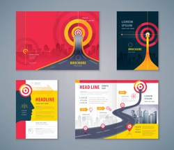 Cover Book Design Set, Abstract Red Arrow and Target Background vector, Template Brochures, flyer, presentations, leaflet, annual report, Path to the goal, Concept growth to success, Road to target