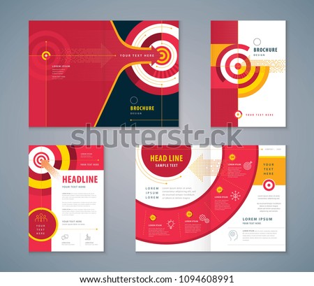 Cover Book Design Set, Abstract Red Arrow and Target Background vector, Template Brochures, flyer, presentations, leaflet, annual report, Path to the goal, Concept growth to success, Reach the target