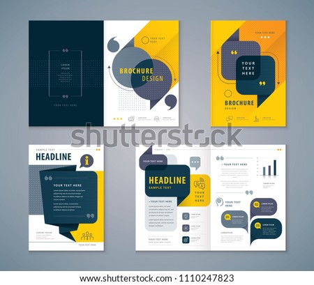 Cover Book Design Set, Black and Yellow Speech Bubbles Background vector Template Brochures, flyer, presentations, leaflet, magazine, annual report, Questions and Answers, social networks, talk bubble