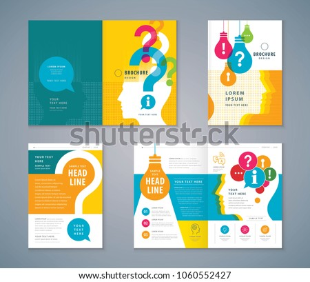 Cover Book Design set, Colorful Human head with Light Bulb and Question Mark Background,Template Brochure, flyer, presentations,leaflet, annual, problem; trouble, Questions and Answers, information