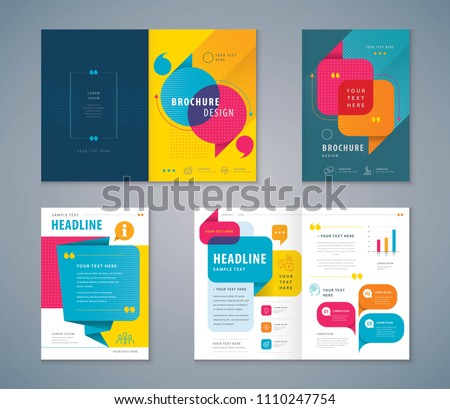 Cover Book Design Set, Colorful Speech Bubbles Background vector Template Brochures, flyer, presentations, leaflet, magazine, annual report, Questions and Answers, social networks, talk bubbles