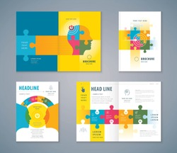 Cover Book Design Set, Jigsaw puzzle pieces and Human head Background vector, Template Brochures, flyer, annual report, Path to the goal, Business concept growth to success, Start up, Reach the target