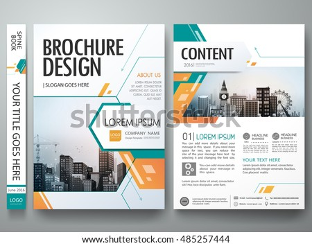 Cover book presentation brochure design template vector. Green abstract shape and minimal portfolio. City concept on A4 layout. Business flyers report magazine poster.